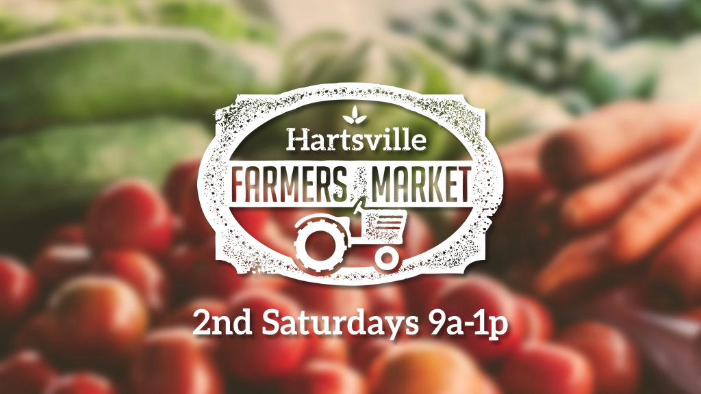 "The Hartsville Farmers Market Logo over a photo of fresh vegetables with the text ""2nd Saturdays 9a-1p"""