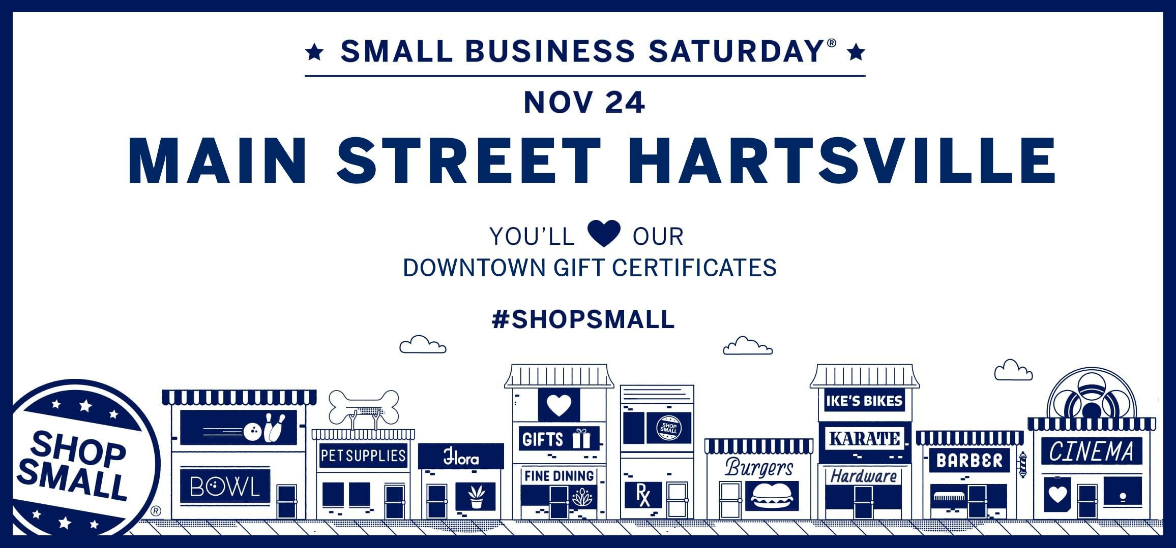 Main Street Hartsville's Downtown Gift Certificates are great for Small Business Saturday!