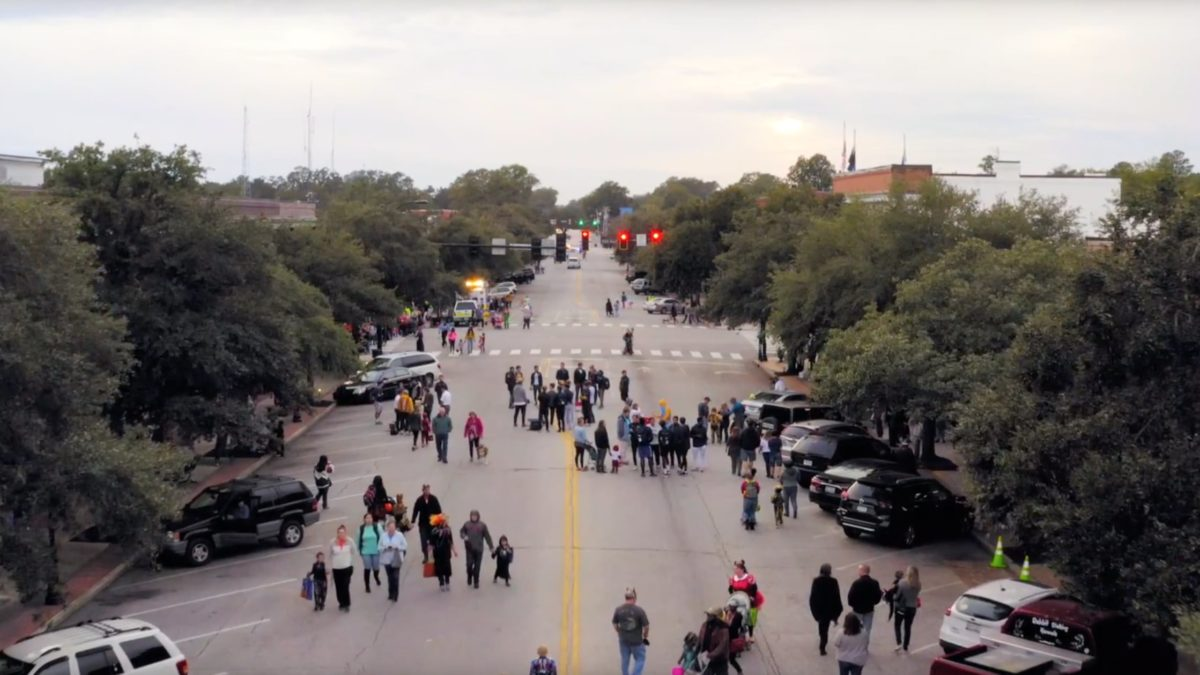A still of the flyover video from Treats on the Streets 2018, produced by Lockwood Studios for Main Street Hartsville.