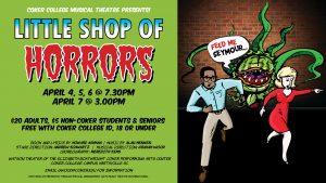 Banner for Coker College's performance of Little Shop of Horrors.