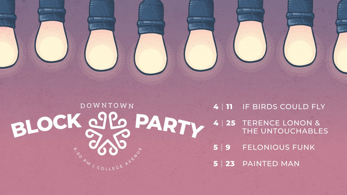 A banner image for the Spring 2019 Downtown Block Party Series