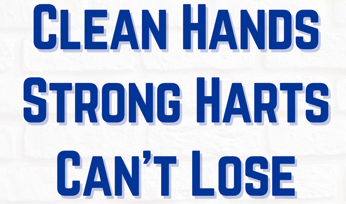 "Banner reading ""Clean hands; strong hearts; can't lose"""